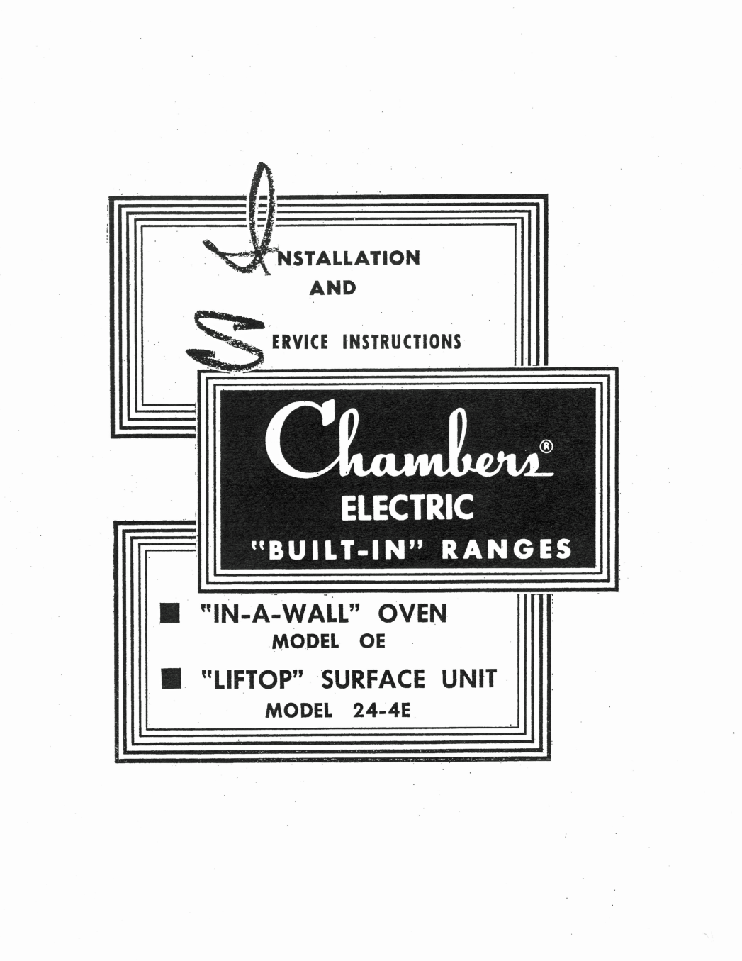 Available Literature For Your Chambers 1950 Gas Stove Wiring Diagram Instruction Manual Service Instructions Electric Built In Units Contains On Proper Operation Calibration Cleaning And Care Of